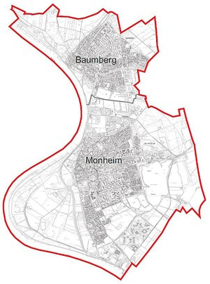 A map of the town of Monheim am Rhein